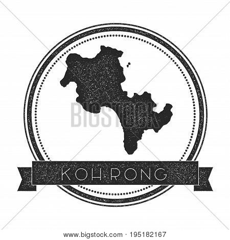 Koh Rong Map Stamp. Retro Distressed Insignia. Hipster Round Badge With Text Banner. Island Vector I
