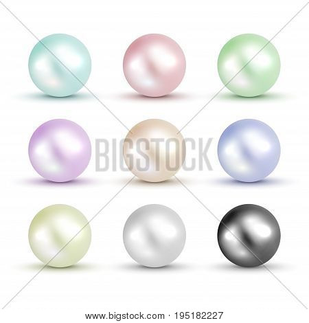 3D shiny natural White Pearl ball set. Vector accessory beauty colorful decoration. Fashion jewel symbol.