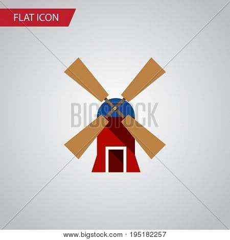 Isolated Rural Flat Icon. Wind Energy Vector Element Can Be Used For Wind, Energy, Mill Design Concept.