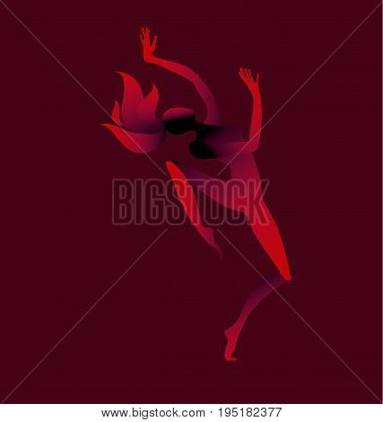 abstract concept girl dancing silhouette. vector illustration