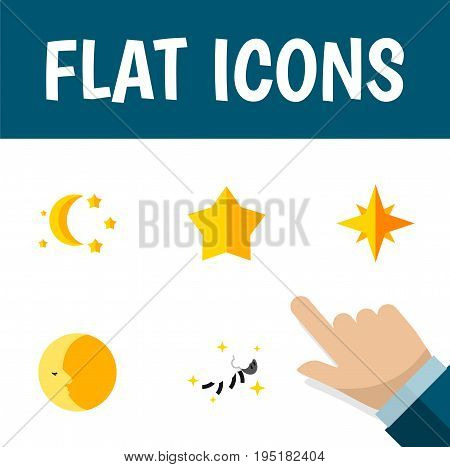 Flat Icon Bedtime Set Of Night, Bedtime, Starlet And Other Vector Objects. Also Includes Lunar, Sky, Star Elements.