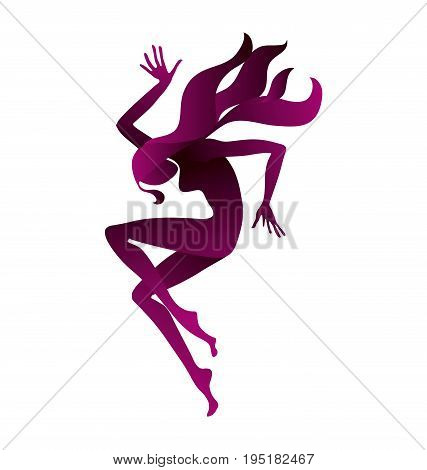 red concept girl dancing silhouette. vector illustration