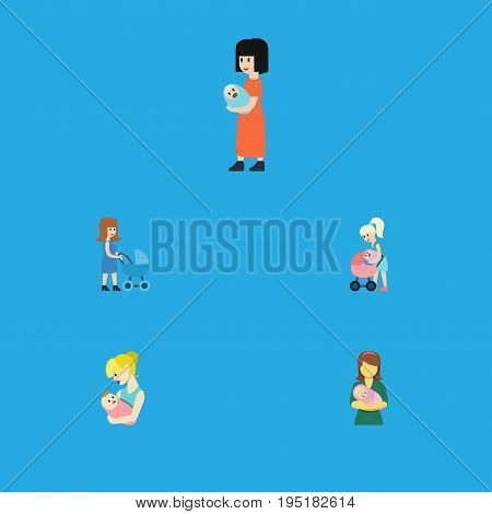 Flat Icon Mam Set Of Mother, Perambulator, Parent And Other Vector Objects. Also Includes Newborn, Baby, Mam Elements.