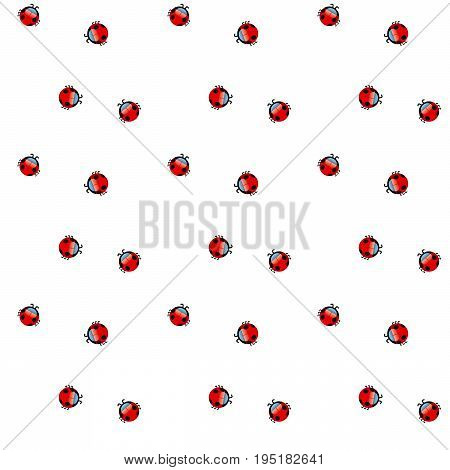 cute summer ladybug polka dot vector seamless pattern