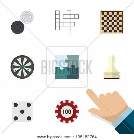 Flat Icon Play Set Of Jigsaw, Pawn, Arrow And Other Vector Objects. Also Includes Chequer, Backgammon, Dice Elements.