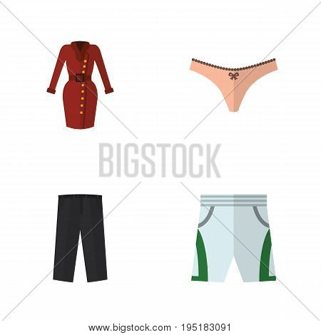 Flat Icon Dress Set Of Lingerie, Trunks Cloth, Pants And Other Vector Objects. Also Includes Shorts, Panties, Dress Elements.