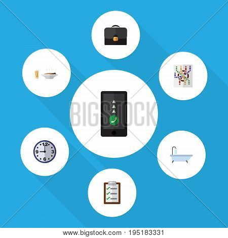 Flat Icon Oneday Set Of Briefcase, Questionnaire, Watch And Other Vector Objects. Also Includes Lunch, Form, Telephone Elements.