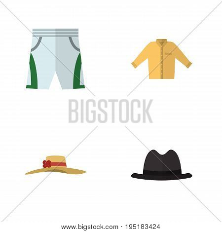 Flat Icon Clothes Set Of Panama, Trunks Cloth, Elegant Headgear And Other Vector Objects. Also Includes Shirt, Man, Hat Elements.