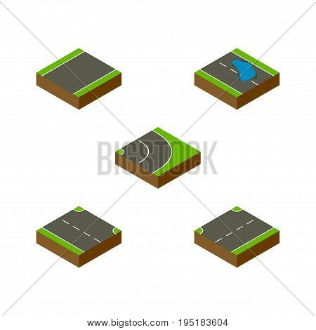 Isometric Way Set Of Unilateral, Upwards, Plash And Other Vector Objects. Also Includes Upward, Road, Asphalt Elements.