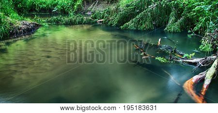 Stiil Water. Isloch River In Belarus