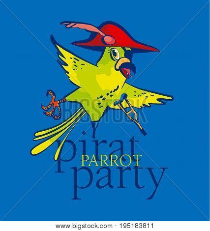 fun kid  pirate parrot cartoon vector illustration
