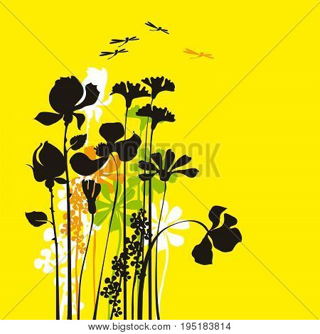yelow background summer flower concept vector illustration