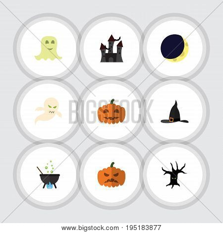 Flat Icon Halloween Set Of Spirit, Pumpkin, Magic And Other Vector Objects. Also Includes Boiling, Midnight, Pumpkin Elements.