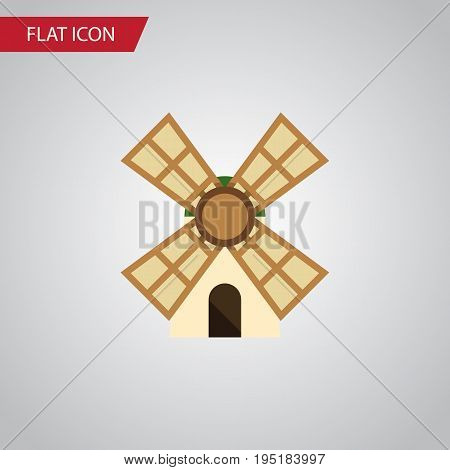 Isolated Power Flat Icon. Windmill Vector Element Can Be Used For Windmill, Power, Farm Design Concept.
