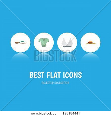 Flat Icon Dress Set Of Elegant Headgear, Beach Sandal, Brasserie Vector Objects. Also Includes Breast, Woman, Sandal Elements.