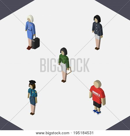 Isometric Person Set Of Pedagogue, Guy, Girl And Other Vector Objects. Also Includes Policewoman, Hostess, Boy Elements.