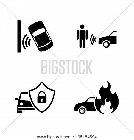 Auto Safety. Simple Related Vector Icons Set for Video, Mobile Apps, Web Sites, Print Projects and Your Design. Black Flat Illustration on White Background.