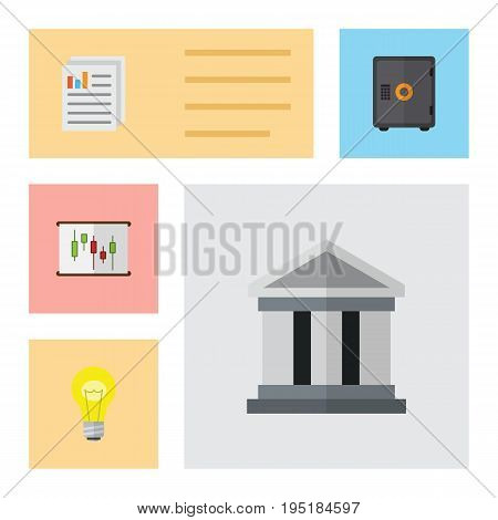 Flat Icon Finance Set Of Diagram, Bubl, Document And Other Vector Objects. Also Includes Chart, Report, Bank Elements.