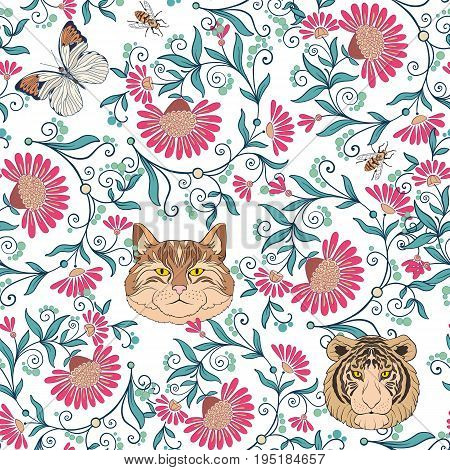 Seamless pattern, background with vintage style flowers and cats, tiger, butterflies, bees in pink and green colors. Stock line vector illustration.