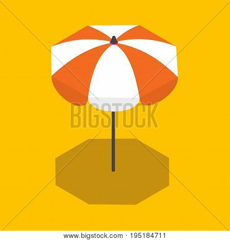 beach umbrella disclosed. Vector isometric sun umbrella. Isometric low poly sun umbrella with shadow.vector illustration isolated on yellow background