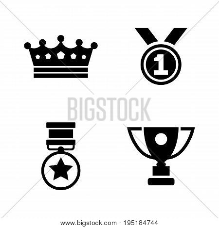 Winning. Simple Related Vector Icons Set for Video, Mobile Apps, Web Sites, Print Projects and Your Design. Black Flat Illustration on White Background.