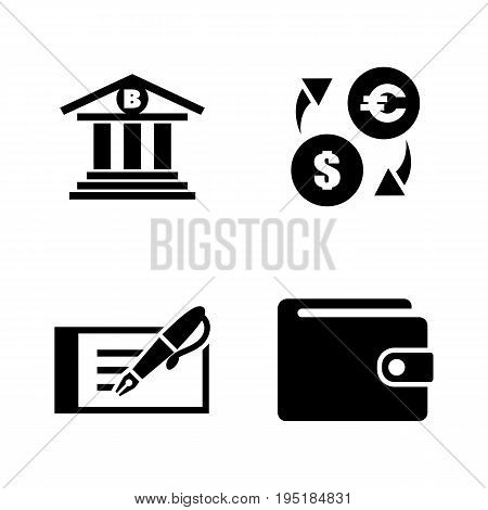 Banking. Simple Related Vector Icons Set for Video, Mobile Apps, Web Sites, Print Projects and Your Design. Black Flat Illustration on White Background.