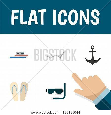 Flat Icon Beach Set Of Deck Chair, Ship Hook, Beach Sandals Vector Objects. Also Includes Swimmer, Yacht, Hook Elements.