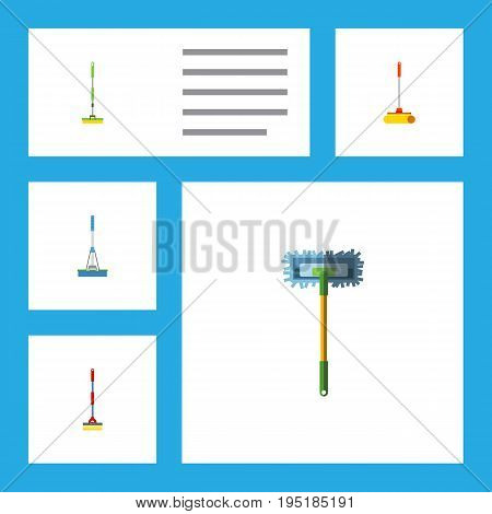 Flat Icon Mop Set Of Cleaner, Sweep, Equipment And Other Vector Objects. Also Includes Sweep, Broom, Cleaning Elements.