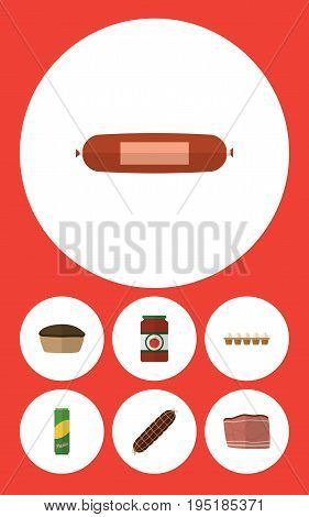 Flat Icon Meal Set Of Beef, Smoked Sausage, Eggshell Box And Other Vector Objects. Also Includes Beef, Eggshell, Smoked Elements.
