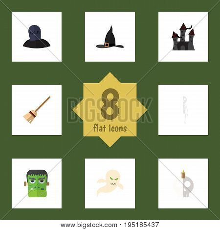 Flat Icon Festival Set Of Monster, Ghost, Skeleton And Other Vector Objects. Also Includes Monster, Skeleton, Vampire Elements.