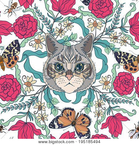 Seamless pattern, background with vintage style flowers and cats and butterflies, bees in pink and green colors. Stock line vector illustration.