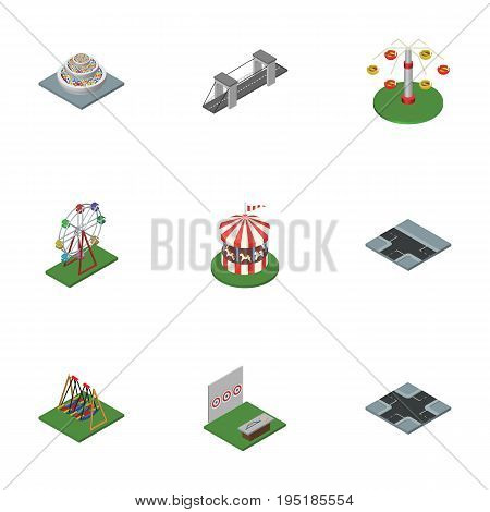 Isometric City Set Of Crossroad, Seesaw, Aiming Game And Other Vector Objects. Also Includes Aiming, Seesaw, Highway Elements.