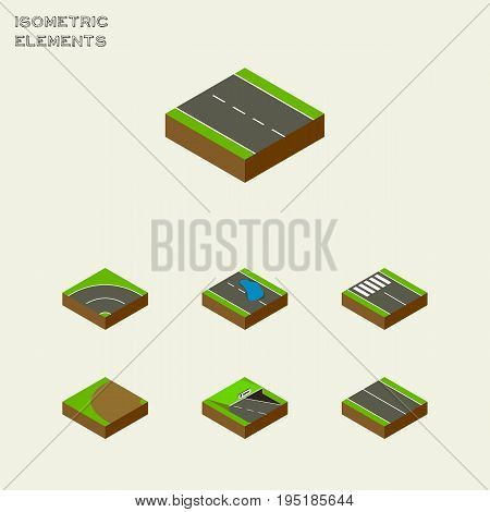 Isometric Road Set Of Plash, Bitumen, Single-Lane And Other Vector Objects. Also Includes Plane, Asphalt, Turning Elements.