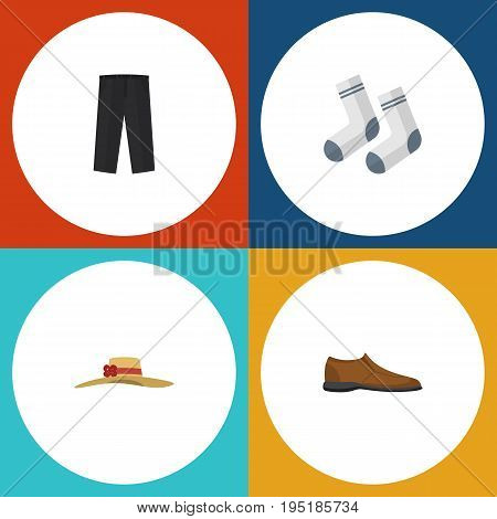 Flat Icon Garment Set Of Foot Textile, Male Footware, Pants And Other Vector Objects. Also Includes Socks, Textile, Foot Elements.