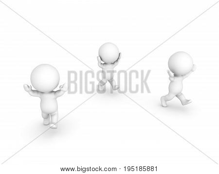 Three 3D Characters running away with their arms raised and panicking. Isolated on white.