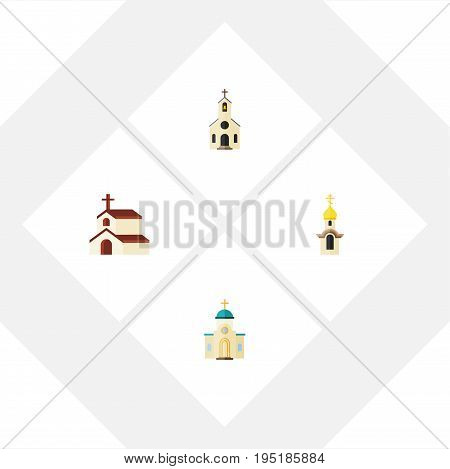 Flat Icon Church Set Of Building, Religion, Religious And Other Vector Objects. Also Includes Religion, Religious, Architecture Elements.