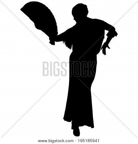 One black silhouette of female flamenco dancer on the white background for your design