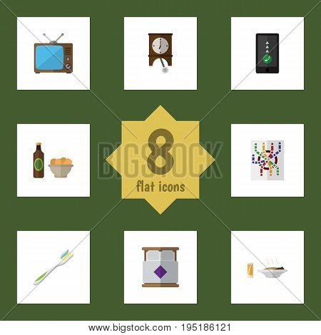 Flat Icon Life Set Of Cellphone, Lunch, Dental And Other Vector Objects. Also Includes Beer, Toothbrush, Router Elements.