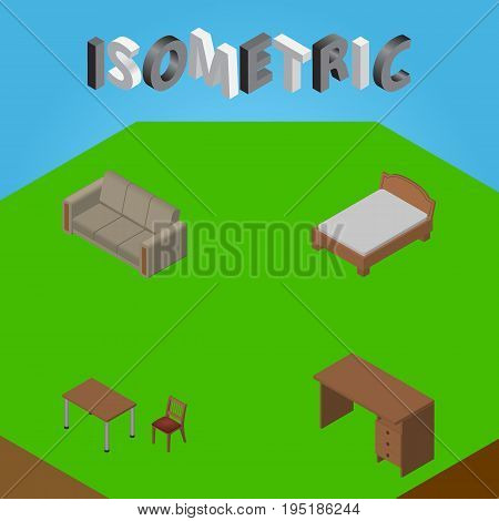 Isometric Furnishing Set Of Chair, Table, Bedstead And Other Vector Objects. Also Includes Drawer, Bed, Settee Elements.