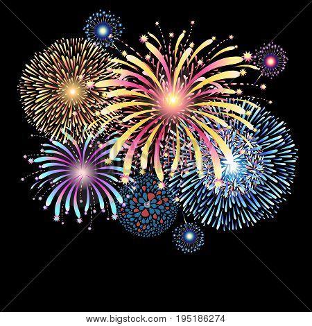 Vibrant vector illustration with color fireworks on a dark background