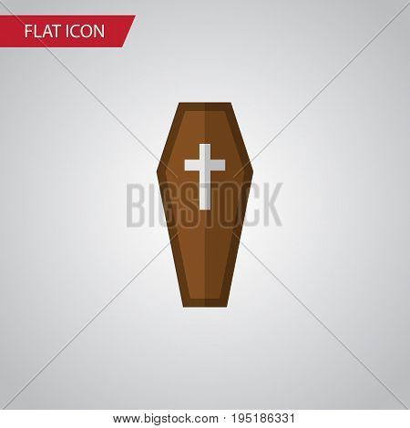 Isolated Coffin Flat Icon. Casket Vector Element Can Be Used For Casket, Coffin, Dead Design Concept.