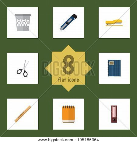 Flat Icon Tool Set Of Notepaper, Trashcan, Supplies And Other Vector Objects. Also Includes Straightedge, Notebook, Cutter Elements.