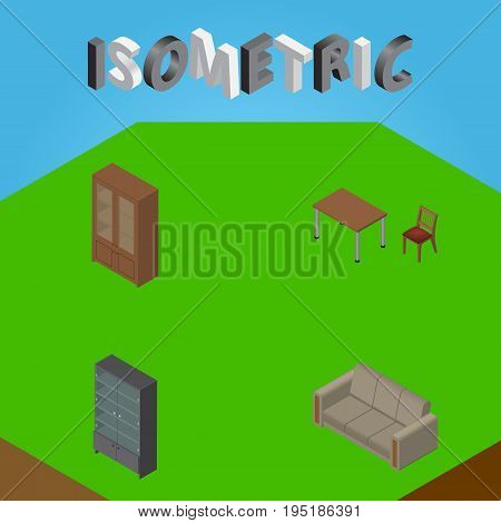 Isometric Design Set Of Chair, Couch, Sideboard And Other Vector Objects. Also Includes Furniture, Table, Settee Elements.