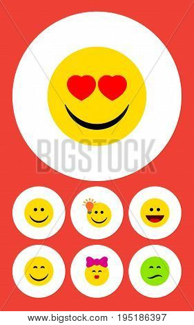 Flat Icon Face Set Of Caress, Frown, Have An Good Opinion And Other Vector Objects. Also Includes Light, Joy, Frown Elements.