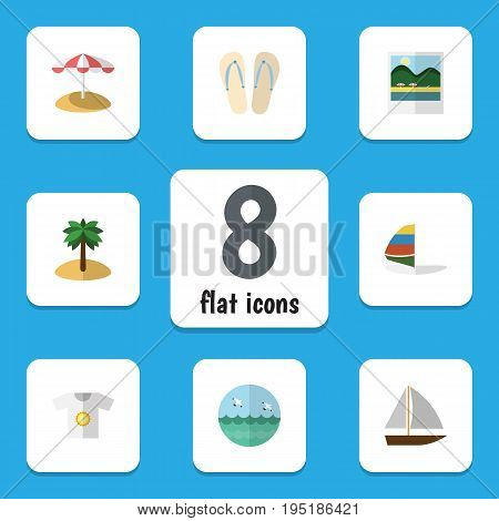 Flat Icon Season Set Of Clothes, Yacht, Surfing And Other Vector Objects. Also Includes Bird, Yacht, Surfing Elements.