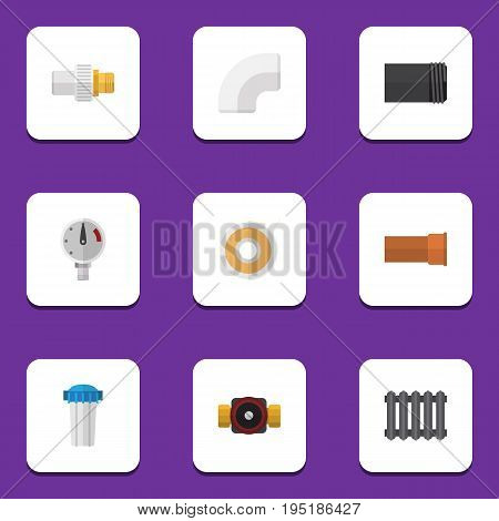Flat Icon Plumbing Set Of Tube, Pressure, Cast And Other Vector Objects. Also Includes Radiator, Tape, Faucet Elements.