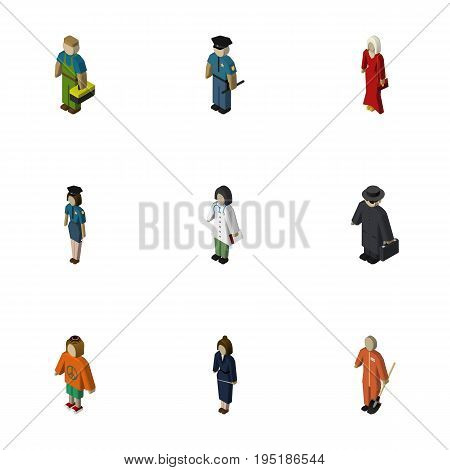 Isometric Person Set Of Plumber, Policewoman, Businesswoman And Other Vector Objects. Also Includes Policewoman, Doctor, Officer Elements.