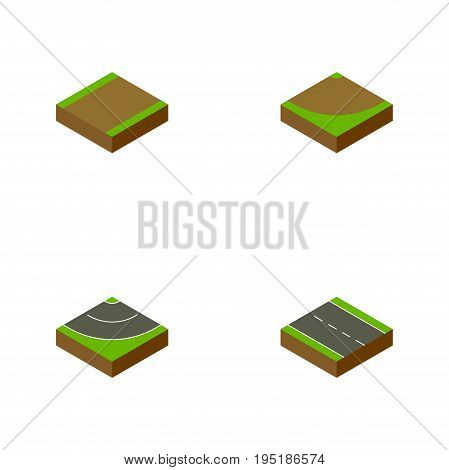 Isometric Road Set Of Single-Lane, Footpath, Road And Other Vector Objects. Also Includes Turn, Highway, Bitumen Elements.