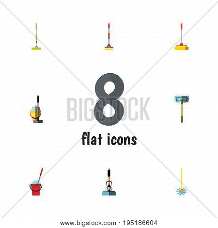 Flat Icon Broomstick Set Of Equipment, Bucket, Mop And Other Vector Objects. Also Includes Broomstick, Cleaner, Bucket Elements.