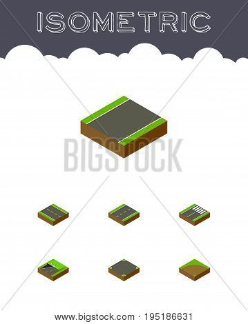 Isometric Way Set Of Unilateral, Driveway, Footer And Other Vector Objects. Also Includes Footer, Intersection, Lane Elements.